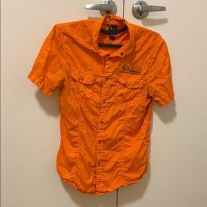 Orange Armani Exchange Button Down